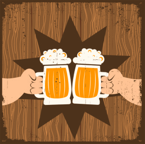 Two men with glasses of beer who toast.Vector grunge poster